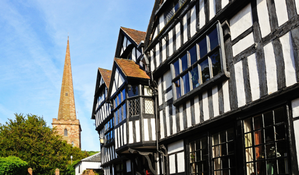 Ledbury church and timbered buildings