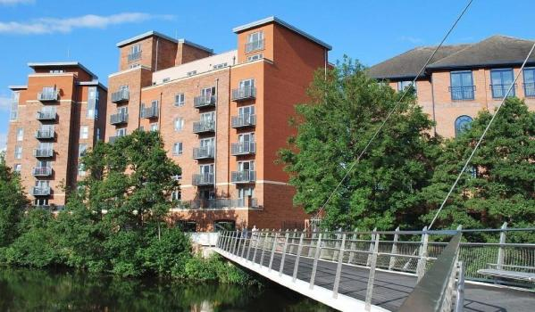 Modern riverside flats in Derby