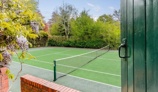 Tennis court in Victorian home in Birmingham