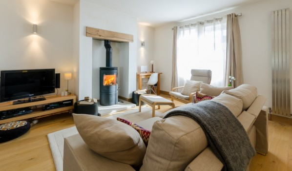 Modern log-burner in a three-bedroom semi-detached house in Settle