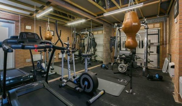Gym in a converted garage in Edinburgh