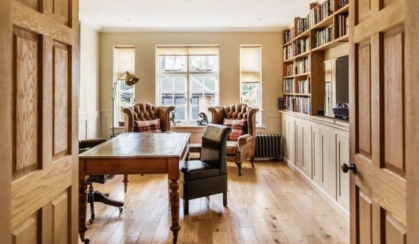 Library and office in an eight-bedroom detached house in Farnham