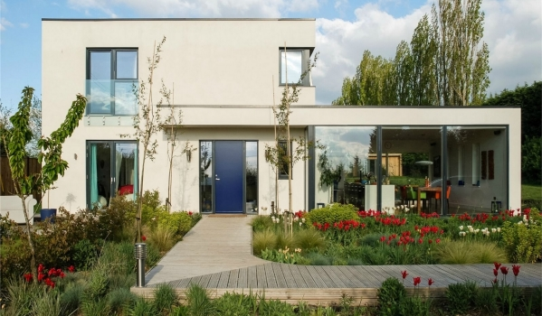 Modern house with a garden in bloom