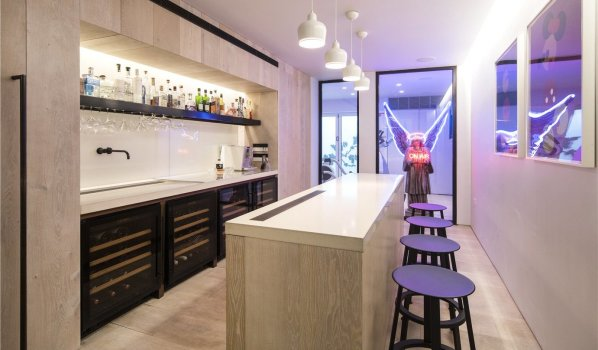 Bar in a six-bedroom terraced house in South Hampstead