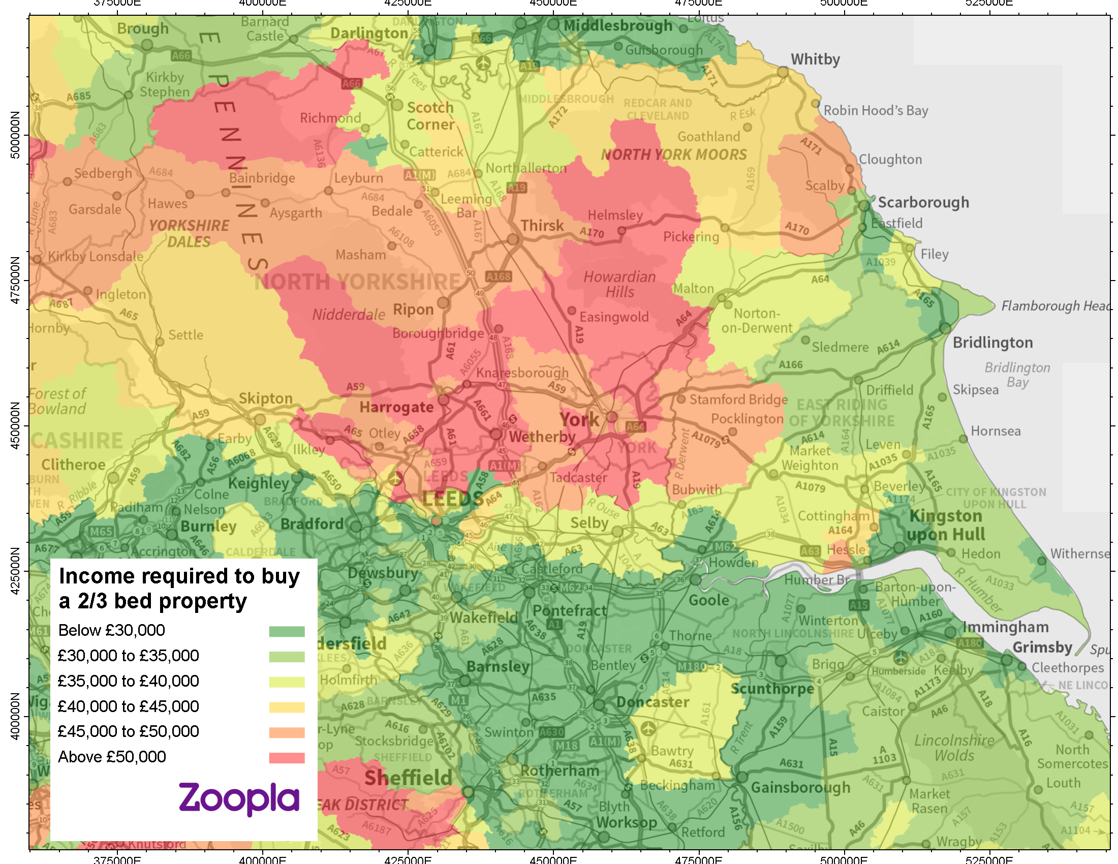 Heat map for first time buyer Yorkshire and Humber