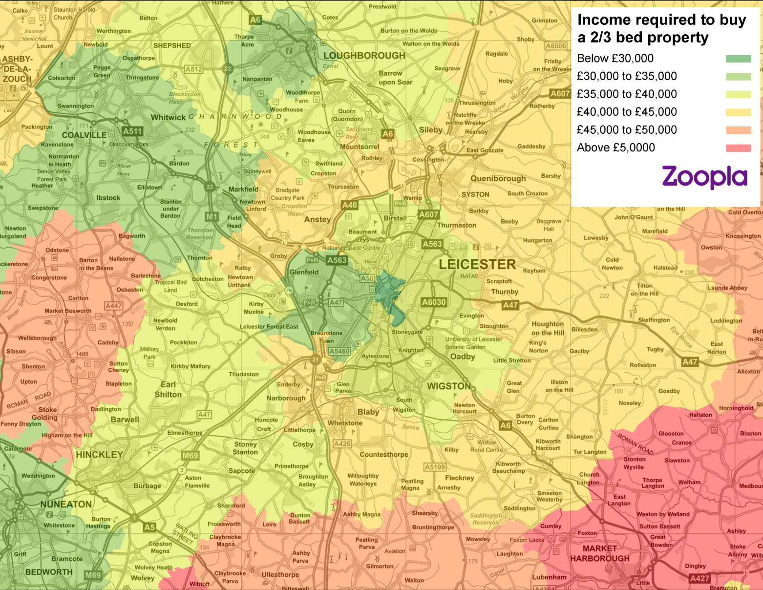Map showing most affordable places for first-time buyers to live in Leicester