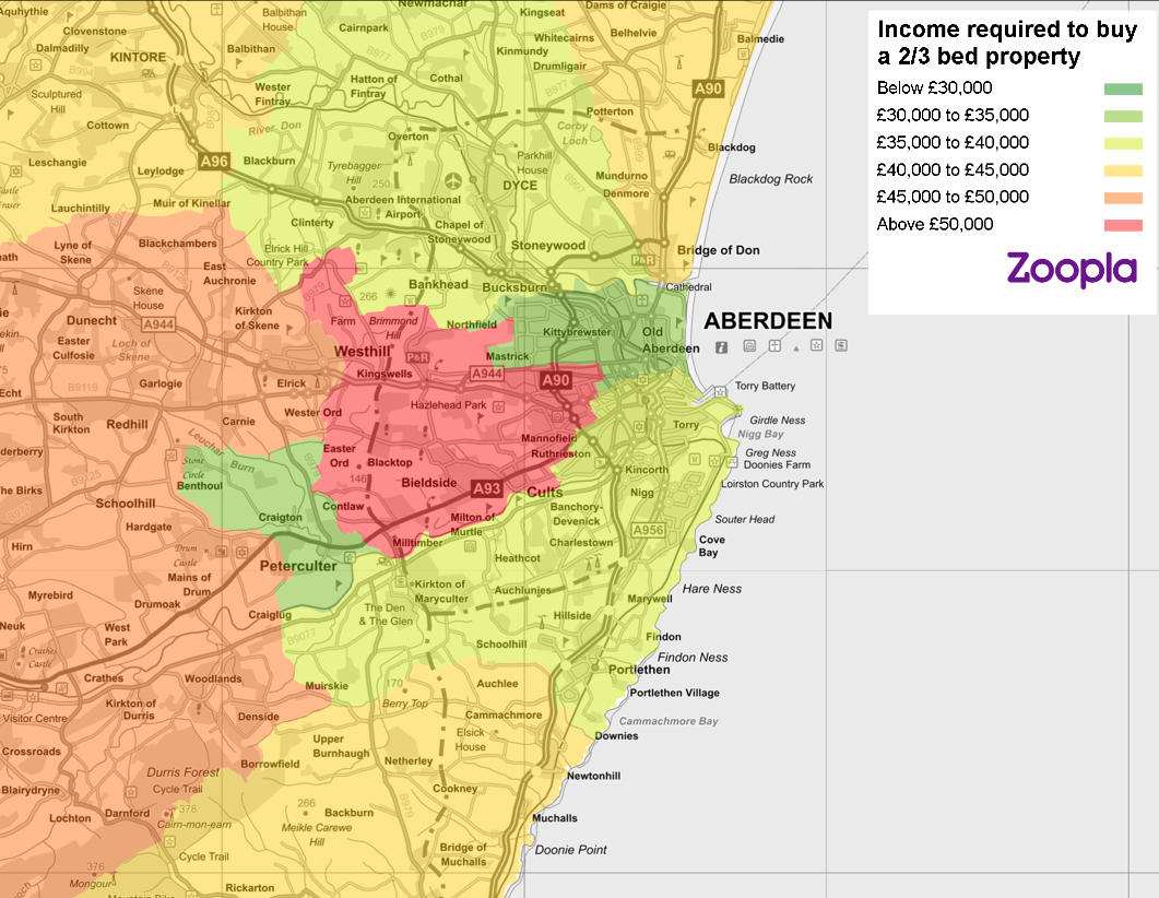 Map of first time buyer affordability in Aberdeen