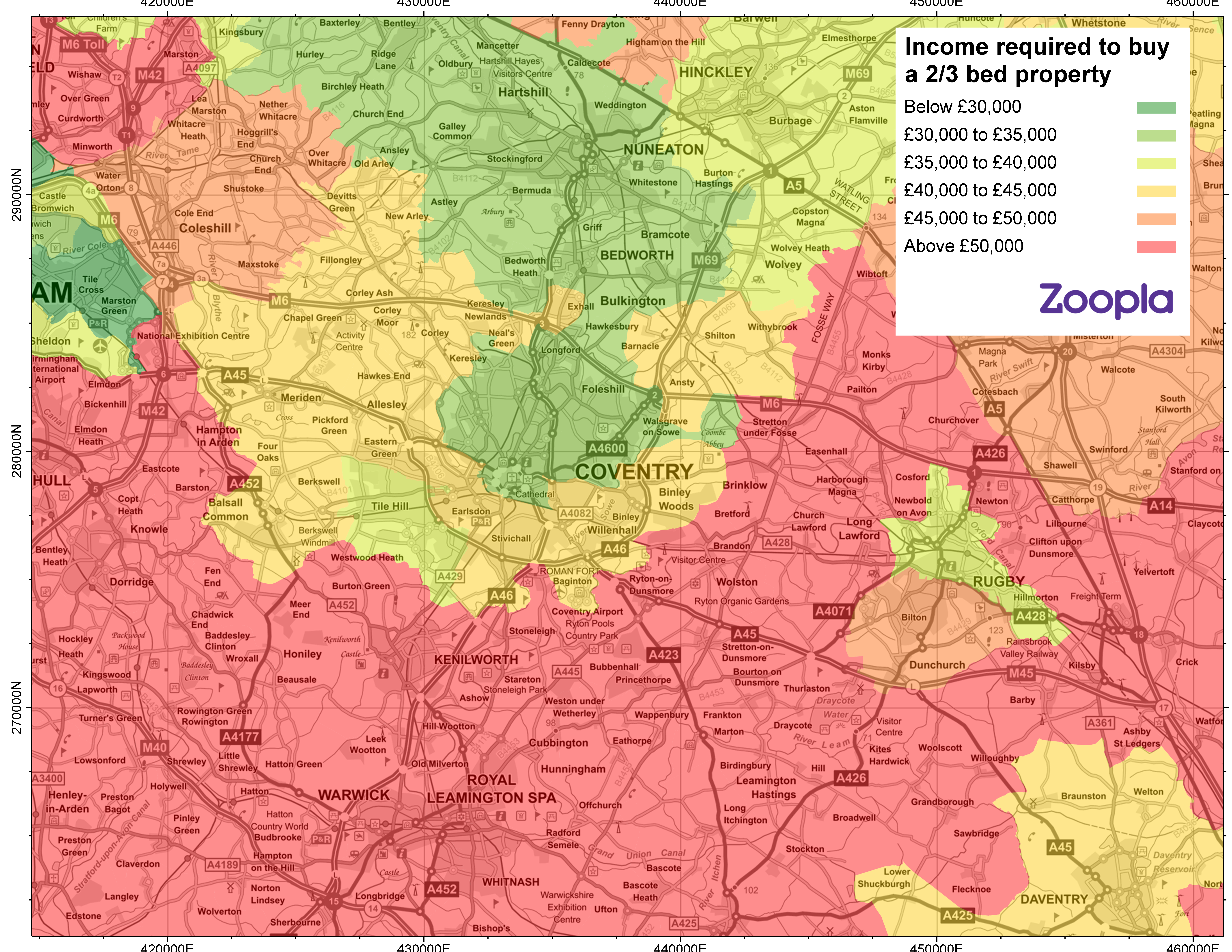 Map showing first-time buyer affordability in Coventry
