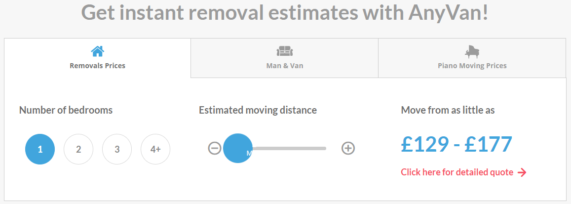 Anyvan moving cost estimation tool