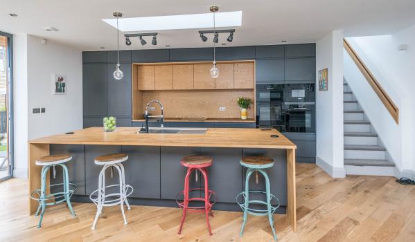 A modern kitchen with an island