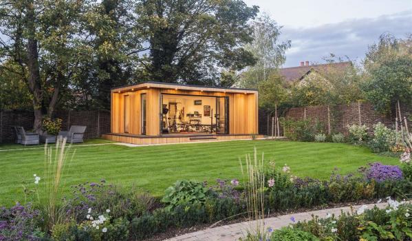 A modern garden room used as a gym