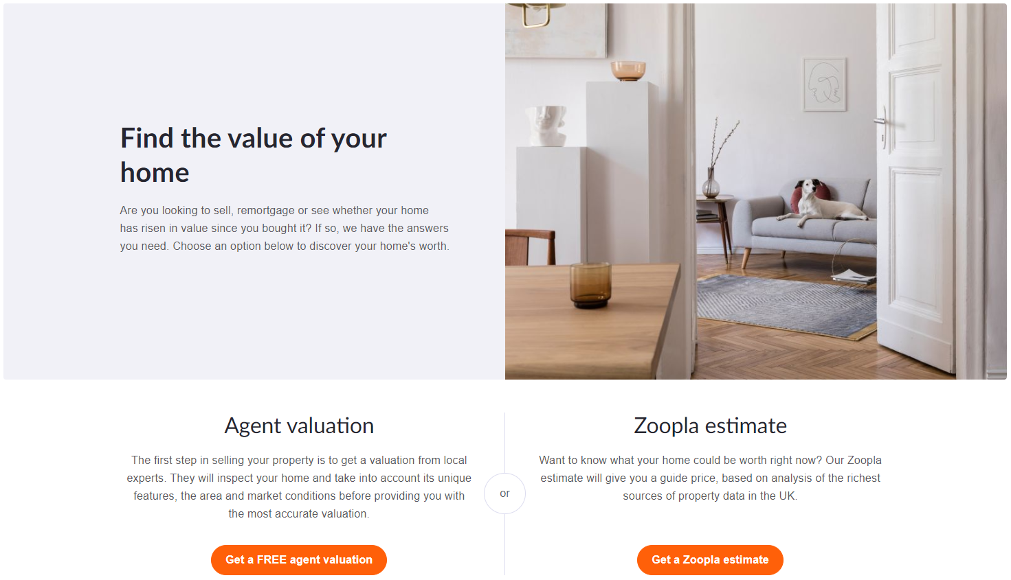 Zoopla home valuations tool
