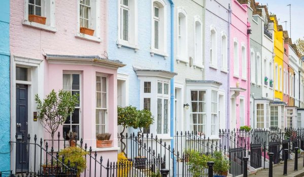 Row of colourful terraced houses in London