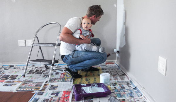 Man decorates new home with baby