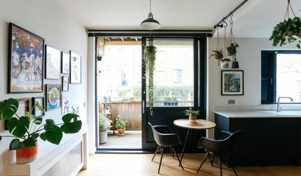 Kitchen with plants and pictures