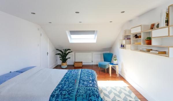Loft bedroom after home staging