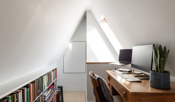 A home office in the loft