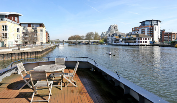 The deck of a London houseboat to rent on Zoopla