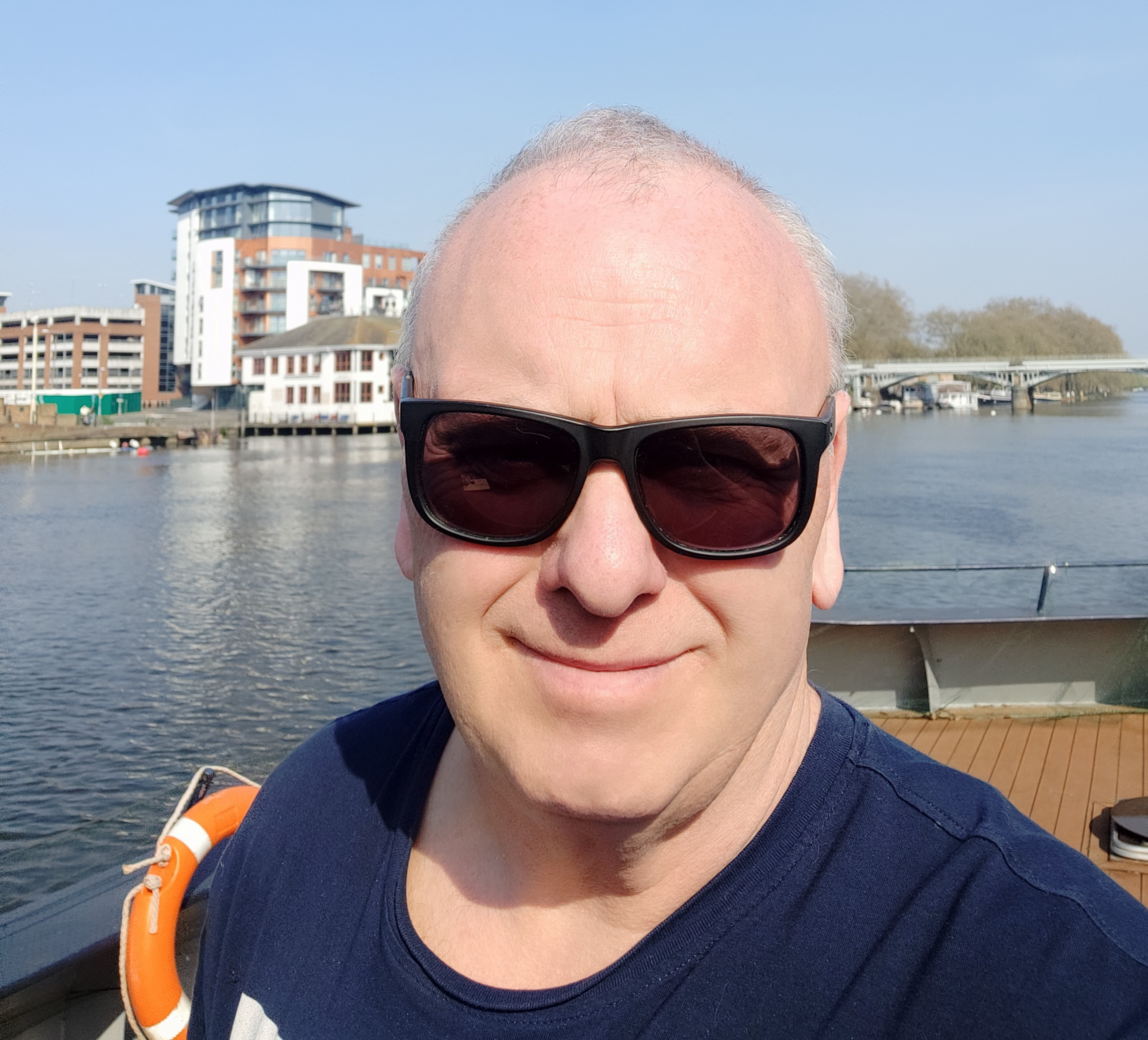 Greg on his rented houseboat on the Thames