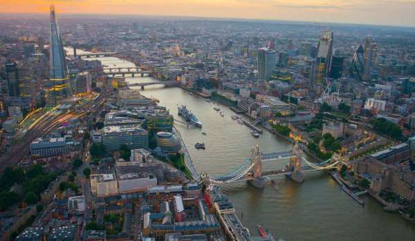 London cityscape at dusk