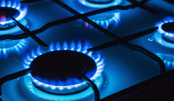 Gas flames on a hob